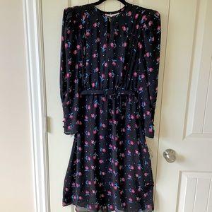 Rare Vintage Charlee Allison Black Floral Dress 14
